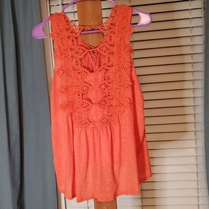 Altar'd State Orange Lace Embroidered Top